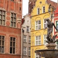 Polen: Neptunbrunnen in der Altstadt von Gdansk / Danzig