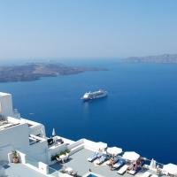 Santorini: Firostefani, Blick auf die Caldera