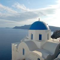 Santorini: Oia, Blick auf die Caldera