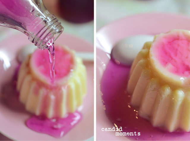 Pudding mit Veilchensirup