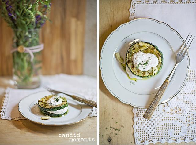 Zucchini-Frischkäse-Türmchen
